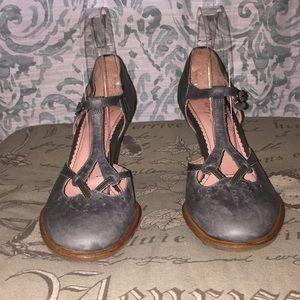 Ms Albright Vintage Olive Green T-Strap Heels